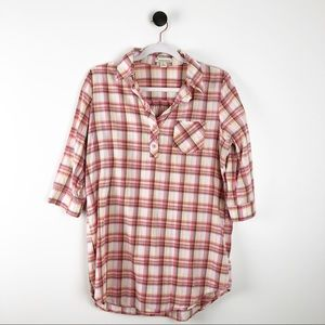 Forever 21 Button Plaid Shirt Orange White Size L